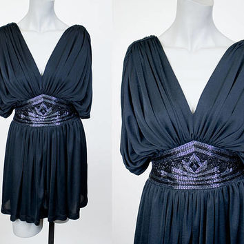 Vintage 80s Top / 1980s Tadashi Black Beaded Draped Tunic Dress S