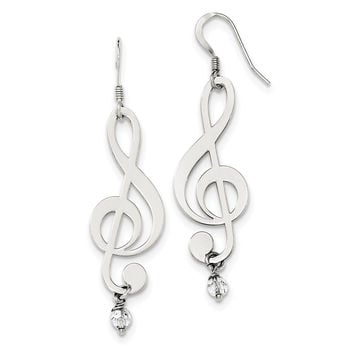 Sterling Silver Polished Crystal Music Note Shepherd Hook Earrings QE11963