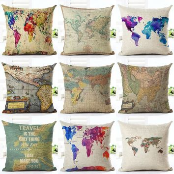 Shabby Chic World Map Printing Cushion Covers Colorful Graffiti Geometric Linen Throw Pillow Case on Couch Sofa Home Decorative