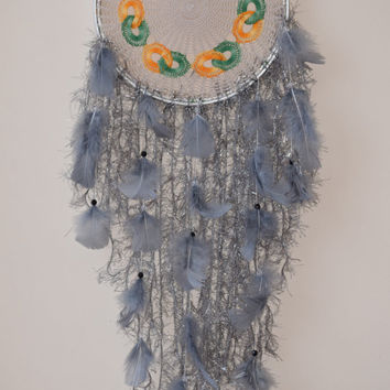 "10"" Large Dreamcatcher, Crocheted Doily, Silver Dreamcatcher, Wall Hanging Dream catcher, Boho  Doily Dreamcatcher,Bohemian,  Fiber Wall Art"