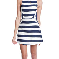 Baby Got Back Fit-Flare Dress - Stripe