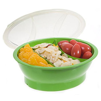 Fit & Fresh - Fresh Starts Chilled Travel Bowl, 2-Cup Capacity Reusable Divided Container, Baby and Kids' Snacks On-the-Go, BPA-Free, Freezer/Microwave/Dishwasher Safe