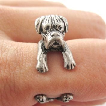 Realistic Boxer Dog Shaped Animal Wrap Ring in Silver | Sizes 4 to 8.5