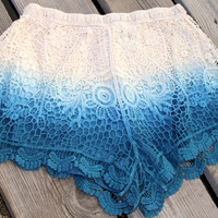 Blue Ombre Crochet Shorts
