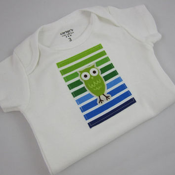 Owl Onesuit - Owl and Stripes Carter's Bodysuit - Baby Boy or Gender Neutral - Choose Your Size - Ann Kelle Staggered Owls