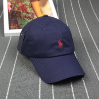 Navy Blue & Red Polo Embroidered Cotton Outdoor Baseball Cap Hats