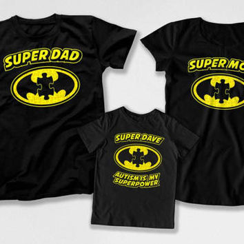 Autism Superhero T Shirt Autism Mom Matching Outfits Autism Dad Autistic Kids TShirt Month Autism Is My Superpower Bodysuit DN-4(24-34-38)