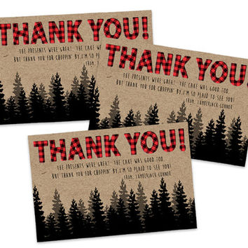 Lumberjack Thank You Cards - Lumberjack Baby Shower - Lumberjack Birthday Party - Boys Party - Boy Thank You Notes - Red Buffalo Plaid Tag