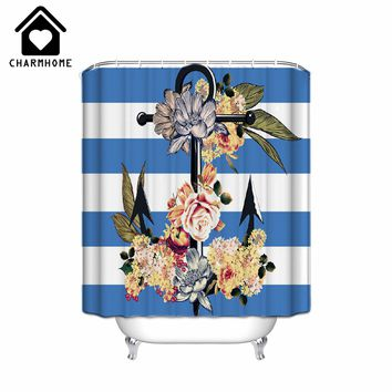 2018 Design Anchor on Blue White Stripes High Quality Shower Curtain Midlewproof with Hooks
