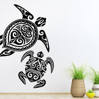 Wall Decal Turtle Tortoise Tortoiseshell Ocean Sea Bathroom Wall Decor C145