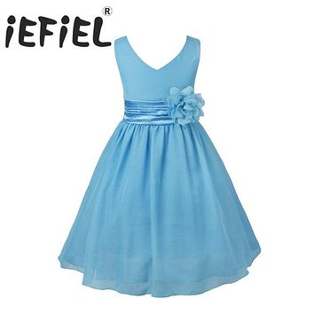 iEFiEL Kids Flower Girls Dress Party Vestido Wedding Princess Floral Bridesmaid Vestido Pageant Ball Gown Dress For Formal Party