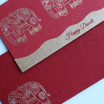 Set of 5 Gold Embossed Elephant Diwali Cards - With Matching Red Envelopes -  Blank **Ready to ship**
