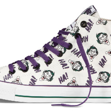 2f8557e5e71e Converse Chuck Taylor All Star Hi Top Dc Comics Joker Print Egret Purple