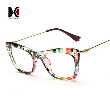 Fashion Women Cat Eye Glasses Frames Print Frame Cateye Eyewear Lady Eyeglasses Frames Metallic Legs 8Colors