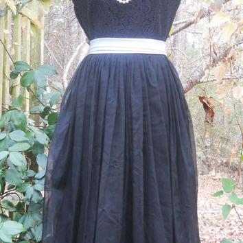 Black 1960s dress lace  mid century mad men Bobbie Brooks organdy party evening small from vintage opulence on Etsy
