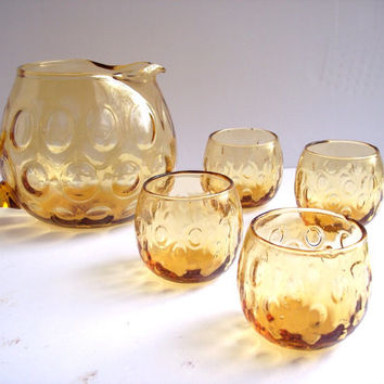 Vintage Amber Roly Poly Glass Martini Pitcher and Glasses Set