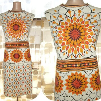 Vintage 60s AMAZING Orange Sunburst Op-Art Mr Dino Dress Signature Shift 14 XL