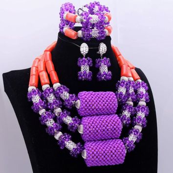 DuDo Purple Silver Coral Jewelry Set Big Balls Crystal Nigerian Necklace Set Women African Wedding Beads in 2018 Free Shipping