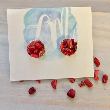 Red Stone Earrings - Bamboo Coral Earrings - Red Bridesmaid Earrings - Red Stud Earrings - Bridesmaid Gift Set - Coral Earrings - Red Studs