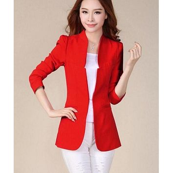 Spring And Autumn Women Blazers And Jackets 2017 New Blazer Women Suit Long Slim Female Outerwear Women's suits black