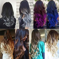 """Curly Wavy Heat Resistant Hair Extensions 24"""" 5 Clips Clip-in Ombre"""