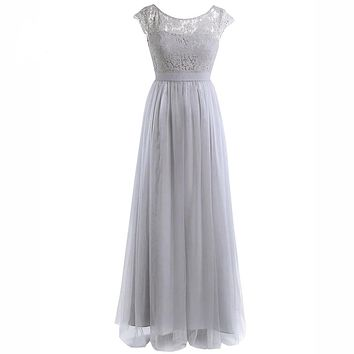 Womens Bridesmaid Formal Maxi Dresses Cap Sleeve Lace Tulle Party Prom Gown Dress for Women Vestidos Long Dress