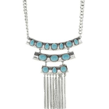 Alba Turquoise & Silver Bar Necklace