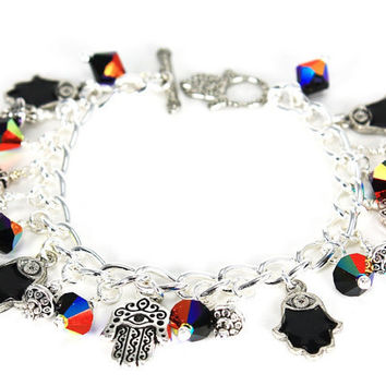 Silver Chain Bracelet With Black Enameled Hamsa Charms and Jet Black Swarokski Crystals