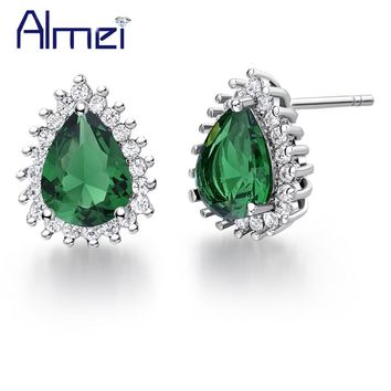 Almei Online Shopping India Silver Color Women Stud Earring Love Heart Green Pink Blue Crystal Earrings Jewelry 5% Off R815
