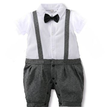 New Born Baby Clothes Gentleman Style Summer Baby Boys Rompers Baby Girls Clothing Set Baby Body Suits Infant Jumpsuit Costume