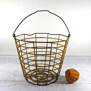 Vintage Wire Egg Basket Mustard Yellow / Wire Basket / Industrial Storage