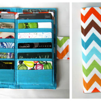 Credit Card Organizer Wallet,  38 Slot Card Loyalty Card Organizer, women's wallet Business Card Organizer Zig Zag Bermuda Ready to Ship