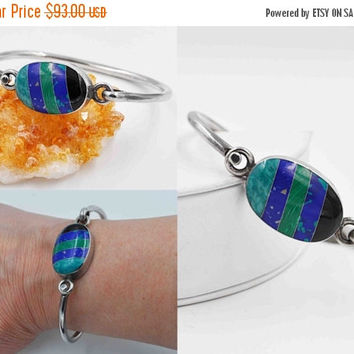 ON SALE Vintage Taxco 950 Silver & Inlaid Stone Bangle Bracelet, Multi Stone, Inlay, Mexico, Chunky, 26 Grams, Unisex, Fabulous! #b840