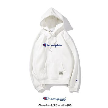 Champion autumn and winter style tide brand loose embroidered letter hooded pullover white