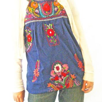 Mexican Blue Love embroidered tunic tent mini dress 1960