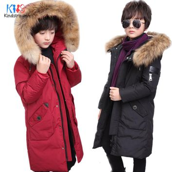 Casual Boys Winter Coats Hooded Kids Solid Warm Jackets Duck Down Fur Collar Children Thick Outwear