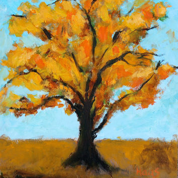 Cottonwood Tree - New Mexico - Orange - Yellow - Oil Painting - Original - Honeyscolors - Landscape - 10 x 9 1/4 - Texture