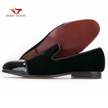 new style Patent leather toe with Bullock punch Handmade men velvet shoes wedding and party men loafers men's flats