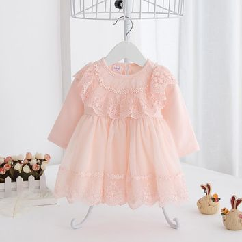 2017 Spring New Baby Toddler Girl Long Sleeve Lace Dress Cute Tulle Dress Sashes Bow Princess Dress Infant Kids Clothing 0-1-2T