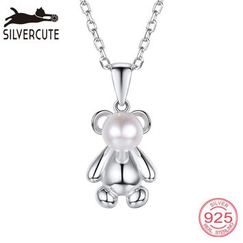Silvercute Women Freshwater Pearl Necklace Bear Sterling Silver 925 Pendant Chain Fine Jewelry Charm Animal Colar Gift SCP012