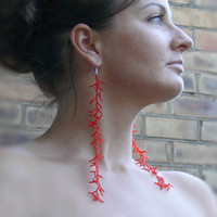 Long Red Earrings. Extra Long Earrings. Shoulder Dusters. Beadwork