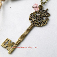 vintage style royal key necklace , with crystal