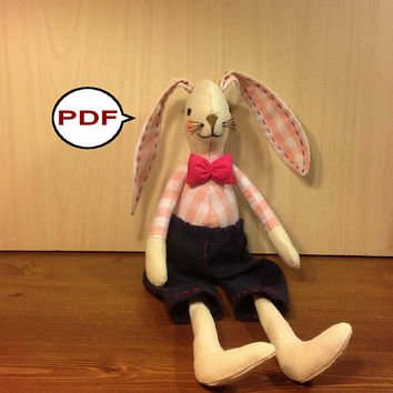 PDF bunny pattern  bunny sewing pattern tutorial PDF doll pattern stuff bunny pattern rag doll pattern cloth doll pattern fabric bunny