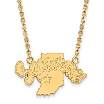 NCAA 14k Gold Plated Silver Indiana State Sycamores Pendant Necklace