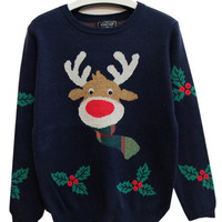 Blue Reindeer Pattern Christmas Ugly Sweater