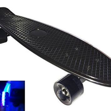 "Apex Skateboard Plastic Retro Blank Cruiser LED Flashing Wheels Penny Style 22"" - Black Board / Black Wheels"