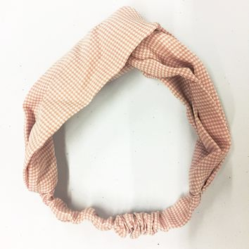 Sweet Pink Twist Gingham Headband