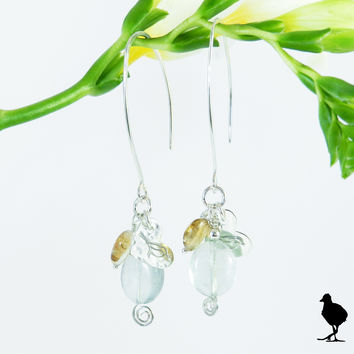Hammered Sterling Silver slim drop earrings. Oval Green Fluorite drop with citrine and birdie charm