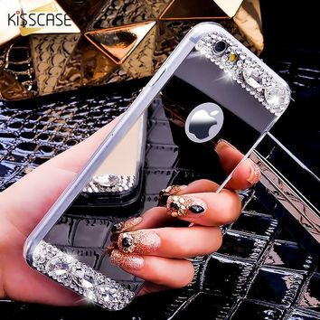 KISSCASE Glitter Phone Case For iPhone X 10 Cases Bling Mirror Rhinestone Back Cover For iPhone 7 6S 6 Plus 5 5S Accessories