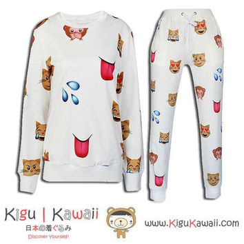 New Cute Cat and Monkey Pattern Kawaii Style Round-Neck Sweater and Jogging Pants KK651